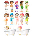 Happy children in bathrobe vector image