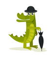 humanized crocodile in bowler hat and holding vector image