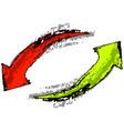 isolated red and green arrows vector image vector image