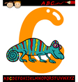 letter c for chameleon cartoon vector image vector image