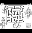 maze activity game with fantasy characters vector image vector image
