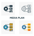 media plan icon set four elements in different vector image vector image