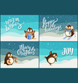 merry christmas happy holidays greeting penguins vector image vector image