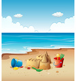 Ocean scene with toys on the beach vector image vector image