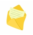 Open envelope with notepad sheet icon vector image vector image