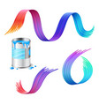 open metal can blue paint with rainbow paint vector image