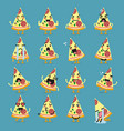 pizza character emoji set vector image