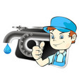 plumber and water faucet symbol vector image vector image