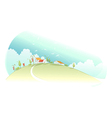 Rural houses green mountain vector image