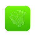 sale shopping cart with boxes icon green vector image