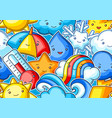 seamless pattern with cute kawaii weather items