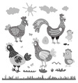 Set hen rooster chicken for children The character vector image vector image