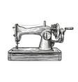 sewing machine retro sketch tailoring vintage vector image
