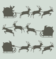 Silhouettes of Santa Claus on his sleigh vector image