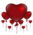 valentines day red balloons on white background vector image vector image