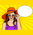 woman looks through sunglasses pop art vector image vector image