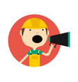 young man in safety helmet with megaphone icon vector image vector image
