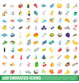 100 emirates icons set isometric 3d style vector image