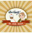 retro wife with bon appetit message vector image