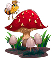 a bee with honey flying near the red mushroom
