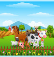 animals farm happy in the hills vector image