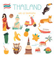 big cartoon set of thai landmarks symbols animals vector image vector image