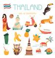 big cartoon set thai landmarks symbols animals vector image