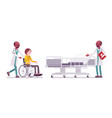 black male doctor and hospitalized patient vector image