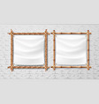 blank white canvas in bamboo frames set vector image