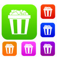 box of popcorn set collection vector image vector image