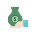 businessman with bag cash money in the hand vector image vector image