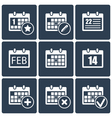 calendar icons set vector image vector image