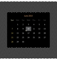 Calendar page for June 2015 vector image vector image
