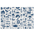 Canoe kayak and fishing club seamless pattern