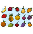 Cartoon fruits and vegetables icon set vector image