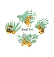 cats tigers in jungle plants vector image vector image