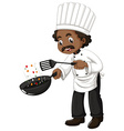 Chef cooking with frying pan and spatula vector image vector image