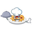 chef with food pasta in a mascot shape vector image vector image
