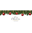 christmas greeting card of red pine tree baubles vector image vector image