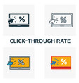click-through rate icon set four elements in vector image vector image