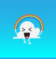 cloud character emoji jumping rainbow rope vector image