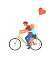 couple of disabled lovers is riding a bike vector image vector image