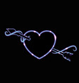 cute luminescent neon heard with arrow and swirls vector image