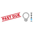distress past due line seal with collage light vector image vector image