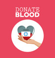 donate blood hand holding heart care vector image