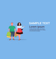 fat obese couple holding colorful paper bags vector image vector image