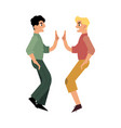 flat two men giving high five vector image vector image