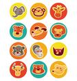 funny animal heads - set vector image vector image