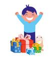 happy boy gifts and rabbit vector image