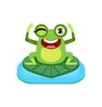 Happy Cartoon Frog Character vector image